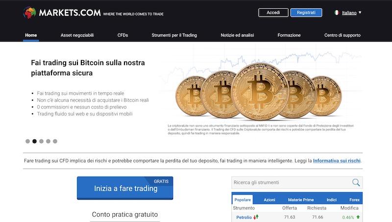 Markets.com Bitcoin e Criptovalute