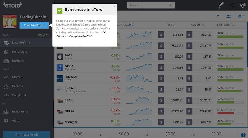 Secondo Passo Completamento del Profilo Piattaforma Trading Bitcoin